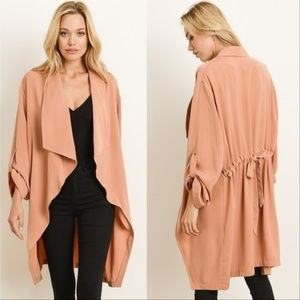 SALMON COLORED OPEN FRONT JACKET